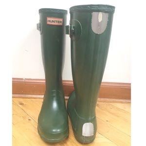 Hunter Shoes - Green Hunter Boots (Kids Size: US 6F, UK 4, EU 37)